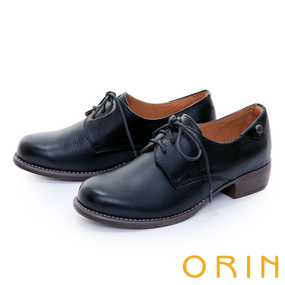 ORIN 蠟感綁帶真皮粗低跟 女 牛津鞋 黑色
