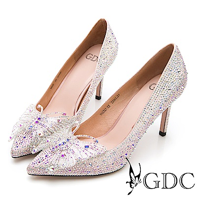 GDC-彩鑽迷蝶精靈媚娘特殊設計尖頭高跟鞋-粉色