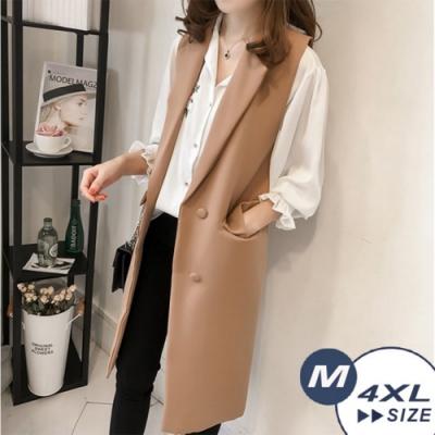 【LANNI 藍尼】率性西裝領中長版背心-3色(M-4XL)●