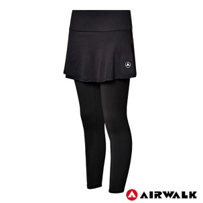 【AIRWALK】女款韻律裙合身褲-黑色