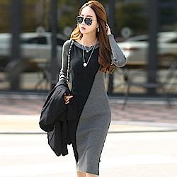 正韓 拼色船型領長袖針織洋裝 (深灰色)-N.C21