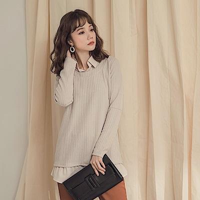 純色坑條拼接雪紡襯衫假兩件式長版上衣-OB大尺碼
