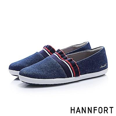 HANNFORT CALIFORNIA荷葉織帶甜美帆布鞋-女-海軍藍