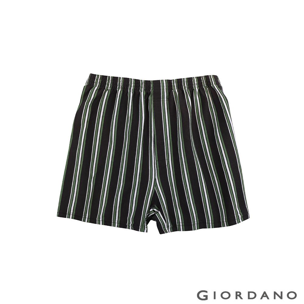 GIORDANO 高品味沉穩條紋配色四角褲(97 深灰x綠條)