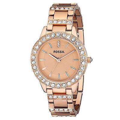 FOSSIL  潔西晶鑽玫瑰金不鏽鋼腕錶(ES3020)-玫金色x34mm