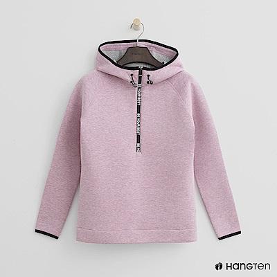 Hang Ten - 女裝 - ThermoContro-立領標語拉鏈連帽上衣-粉