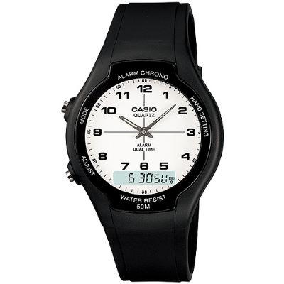 CASIO 都會個性型男雙顯錶-白面數字刻度(AW-90H-7B)/32.5mm