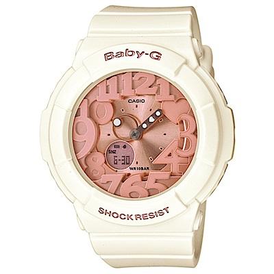 BABY-G 夢幻氣息立體霓虹時刻休閒錶(BGA-131-7B2)-象牙白x玫瑰金/43. @ Y!購物