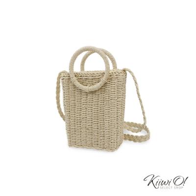 Kiiwi O! basketbag | 立體造型草編兩用隨身包 杏色