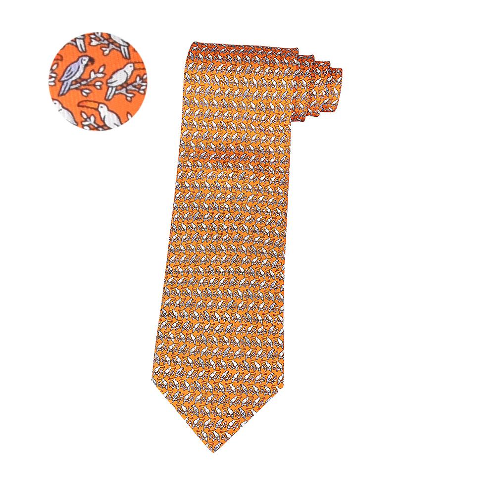 HERMES愛馬仕TWILLBI PEROCAN經典緹花LOGO大嘴鳥設計蠶絲領帶(橘x橘