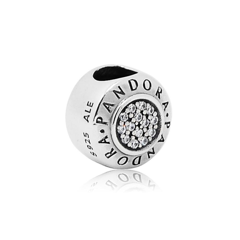 Pandora潘朵拉圓形PANDORA字母水鑽純銀墜飾串珠