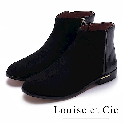 Louise et Cie-金屬扣麂皮拼接低跟中統靴-黑色