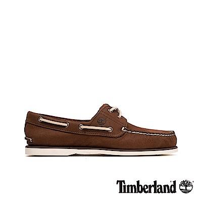 Timberland 男款深咖啡色正絨面皮革二孔帆船鞋|A23C2