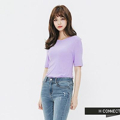 H:CONNECT 韓國品牌 女裝-合身純色圓領t-shirt-紫