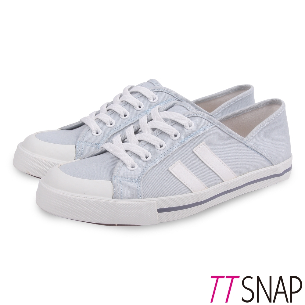 TTSNAP帆布鞋-2way簡約帆布後踩平底鞋 藍