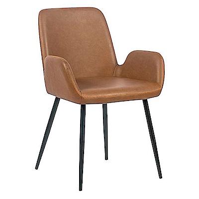 AS-裴吉鐵藝棕色皮餐椅-57x55x81cm