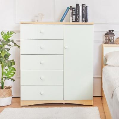 Birdie南亞塑鋼-3.3尺五抽單門斗櫃/收納櫃(白橡色+白色)-99x48x118cm