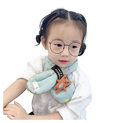 韓版 新款卡通小熊寶寶兒童保暖交叉圍脖