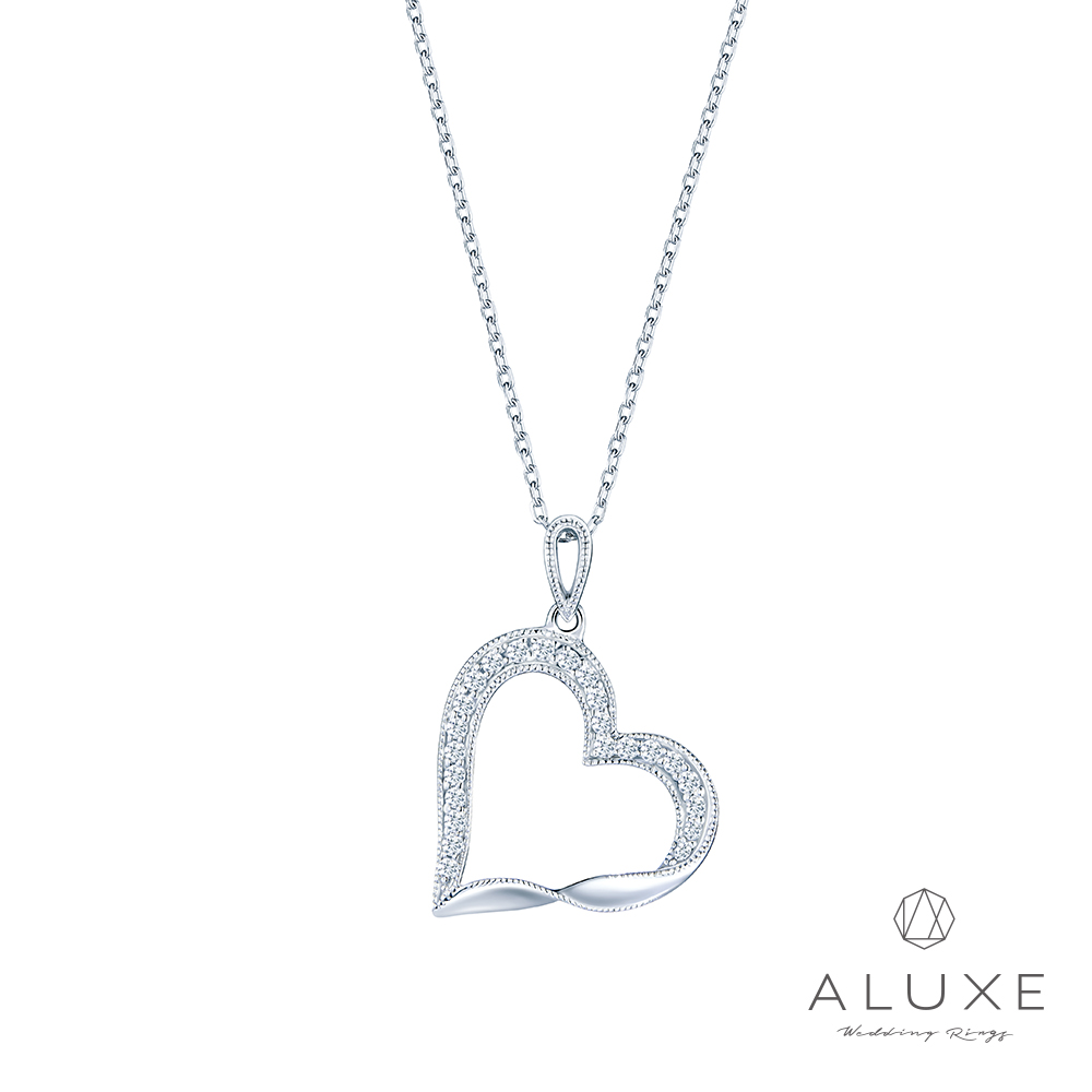 ALUXE 亞立詩 18K金愛心鑽石項鍊