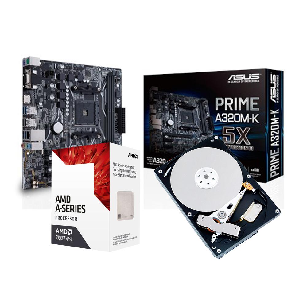華碩PRIME A320M-K + AMD A8 9600+1TB  套餐組
