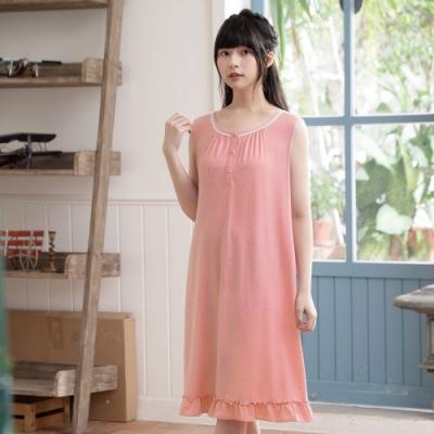 華歌爾睡衣-睡眠研究所 M-LL無袖家居連身裙裝(粉) 冰涼紗