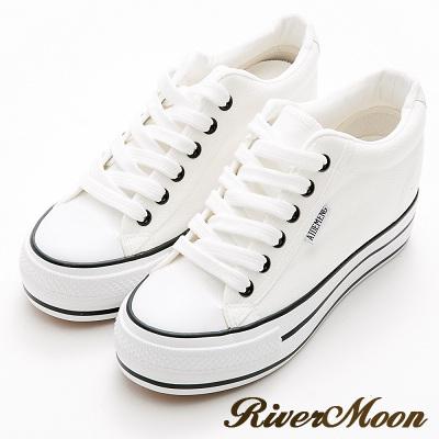 River&Moon內增高-街頭百搭簡約厚底帆布鞋-白
