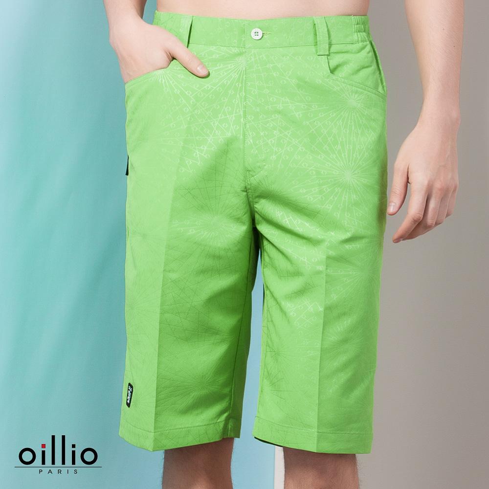 oillio歐洲貴族 休閒超柔短褲 亮眼色系 細膩花紋 綠色