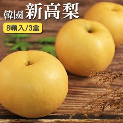 愛上水果 韓國新高梨8顆禮盒裝x3盒(500-550g/顆)