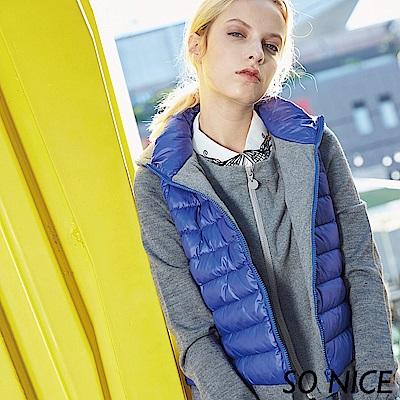 SO NICE時尚針織拼接羽絨外套