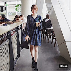 Jilli-ko 韓版荷葉領格子連衣裙-藍