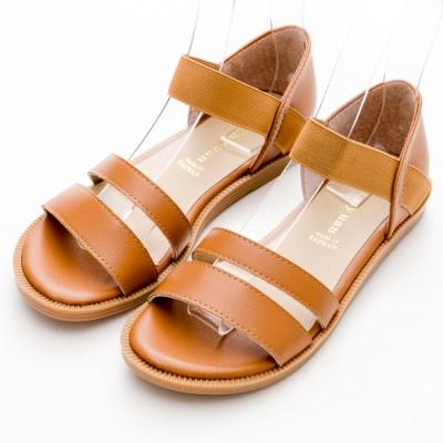 River&Moon涼鞋 台灣製簡約雙一字羅馬平底涼鞋 棕