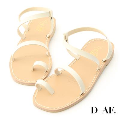 D+AF 簡單美學.一字細帶套指平底涼鞋*米白