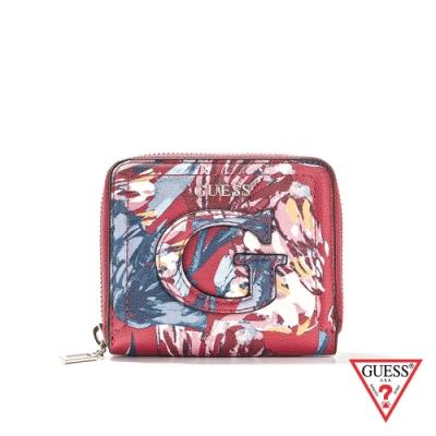 GUESS-女夾-浪漫印花拉鍊錢包-紅