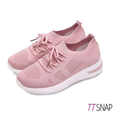 TTSNAP健走鞋-輕量飛梭織面綁帶慢跑休閒鞋 粉