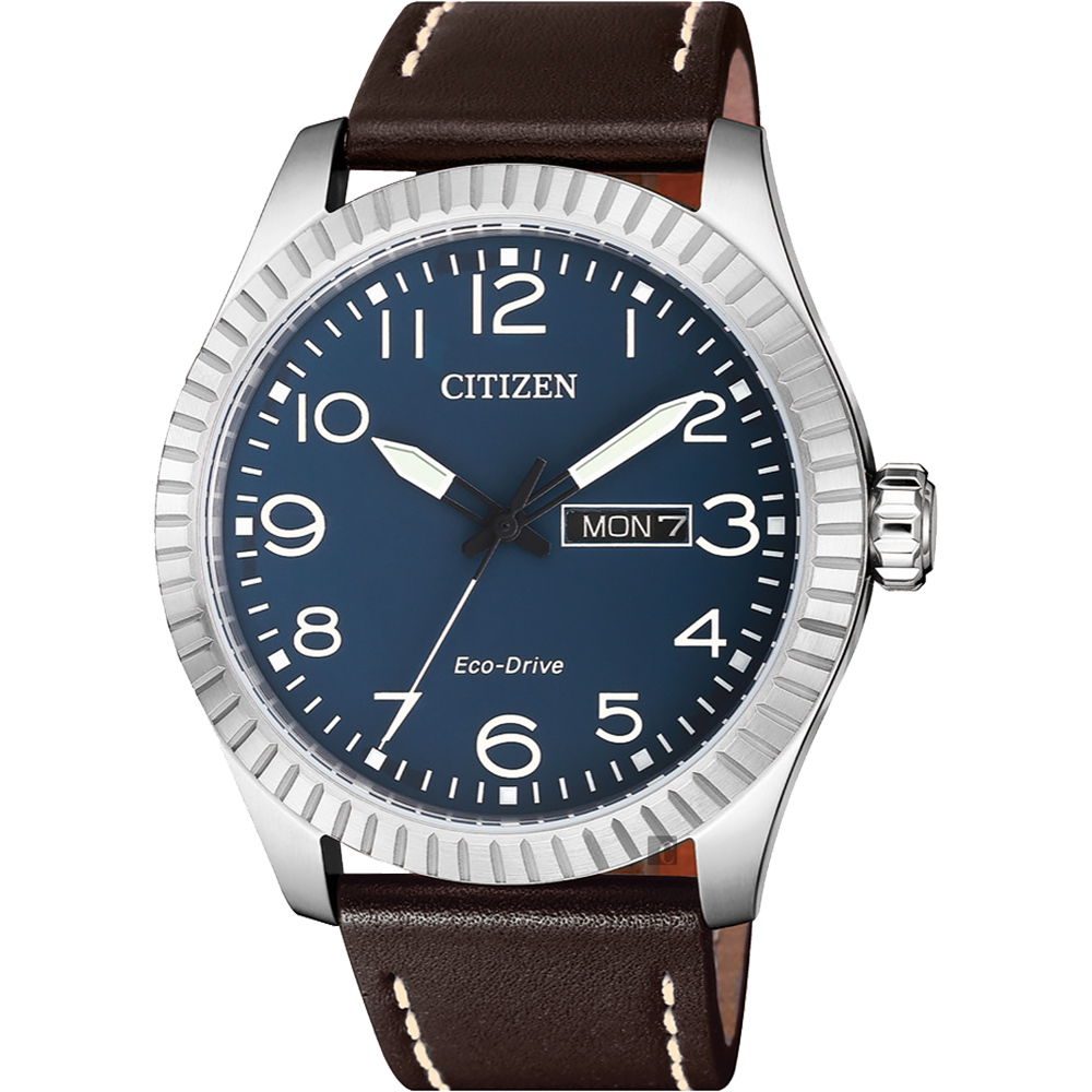 CITIZEN 星辰 限量光動能休閒手錶-藍x咖啡/42mm(BM8530-11L)