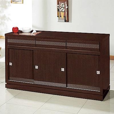 綠活居 帕迪時尚5.1尺推門三抽餐櫃/收納櫃-151.5x52x84.5cm免組