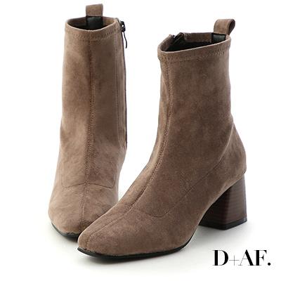 D+AF 知性話題.車線剪裁木紋跟短靴*灰棕