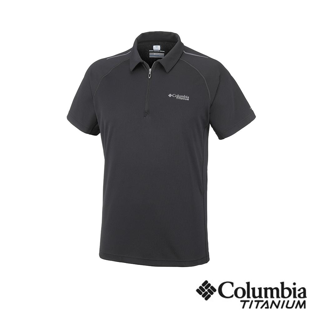 Columbia哥倫比亞男款-鈦UPF15涼感快排Polo衫-黑 UAE06340