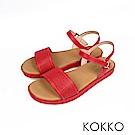 KOKKO - 盛情夏威夷平底寬版軟底涼鞋-朱槿紅