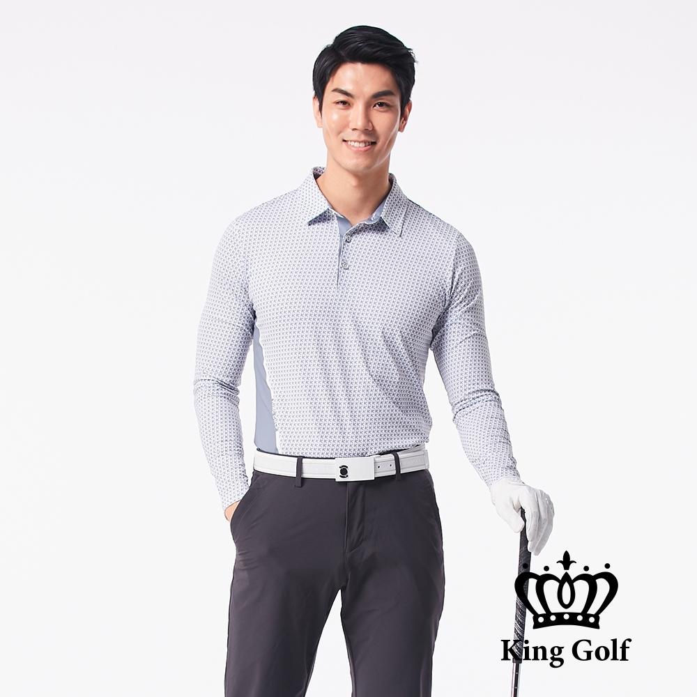 【KING GOLF】K字滿版印圖腰間撞色長袖POLO衫-灰色
