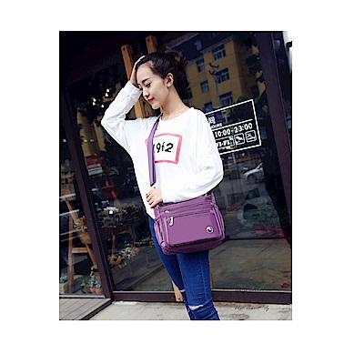 AT2704PU韓版輕量多層斜側背包紫色