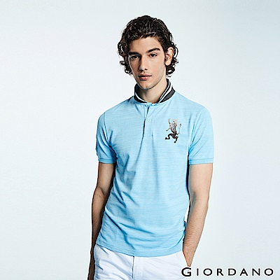 GIORDANO 男裝勝利獅王漸層刺繡彈力萊卡POLO衫-43 雪花海藍