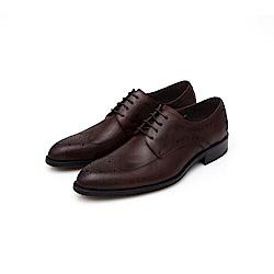ALLEGREZZA-真皮男鞋-不凡品味-藝紋雕花質感德比鞋  咖啡紅色
