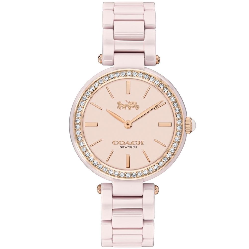 COACH 經典馬車時尚晶鑽陶瓷腕錶(14503452)-粉/30mm