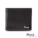 FOCUS原皮時尚黑9卡透明窗上下掀男短夾(FGB2940)