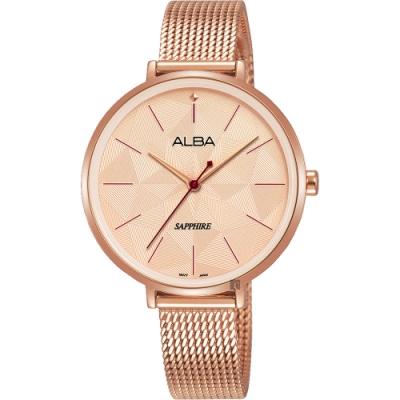 ALBA 雅柏 民族菱格風格時尚女錶(AH8684X1)-玫塊金/34mm