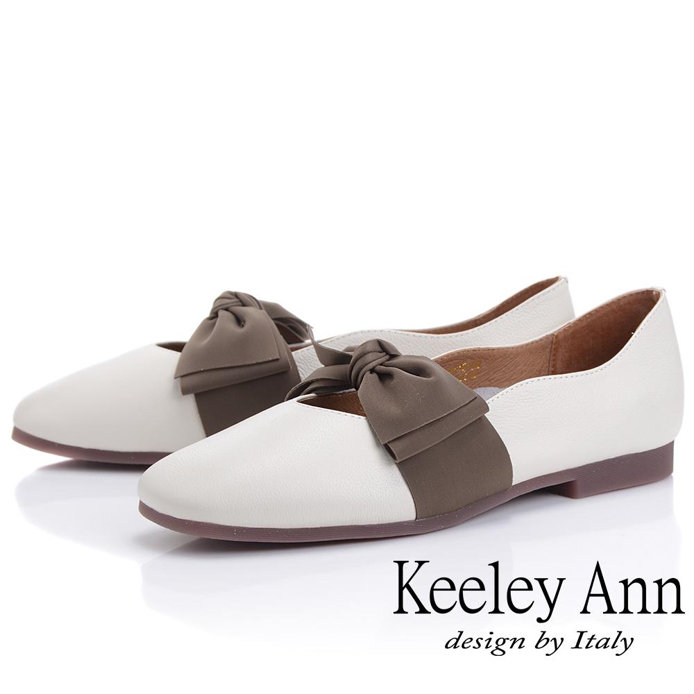 Keeley Ann慵懶盛夏 真皮荔枝紋甜美蝴蝶結包鞋(白色-Ann系列)