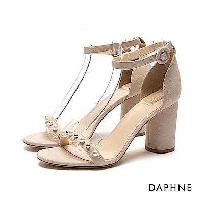 達芙妮DAPHNE 涼鞋-雙色珠飾圓柱粗跟一字涼鞋-杏