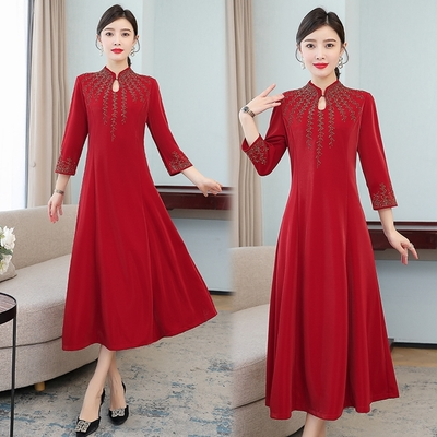 玩美衣櫃東方復古盤釦水滴領燙鑽改良旗袍M-4XL-REKO