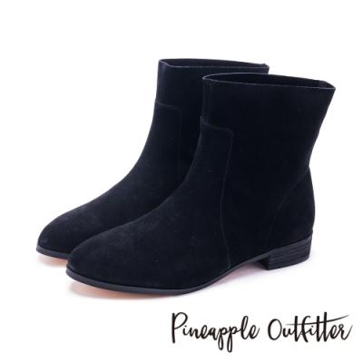 Pineapple Outfitter-SWAY 森林氣息原色真皮舒適短靴-絨黑色